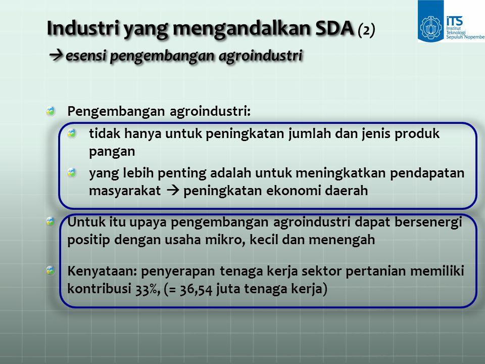 Industri yang mengandalkan SDA (2)  esensi pengembangan agroindustri