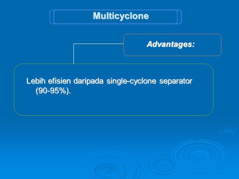 Multicyclone Lebih efisien daripada single-cyclone separator (90-95%).