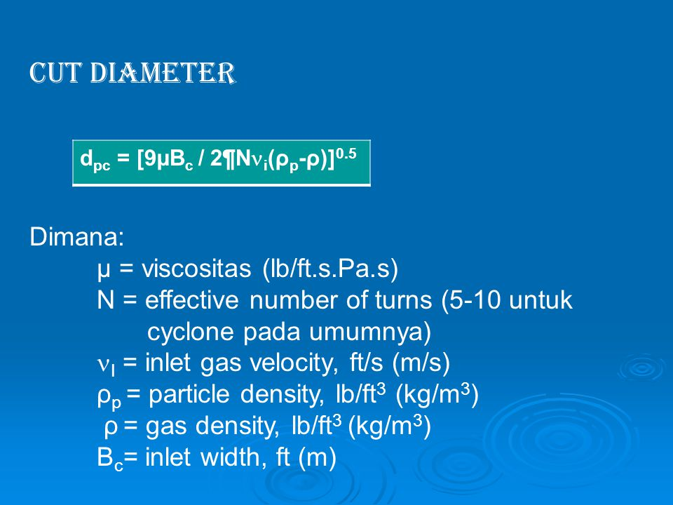 Cut Diameter Dimana: µ = viscositas (lb/ft.s.Pa.s)