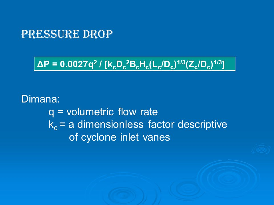 Pressure Drop Dimana: q = volumetric flow rate