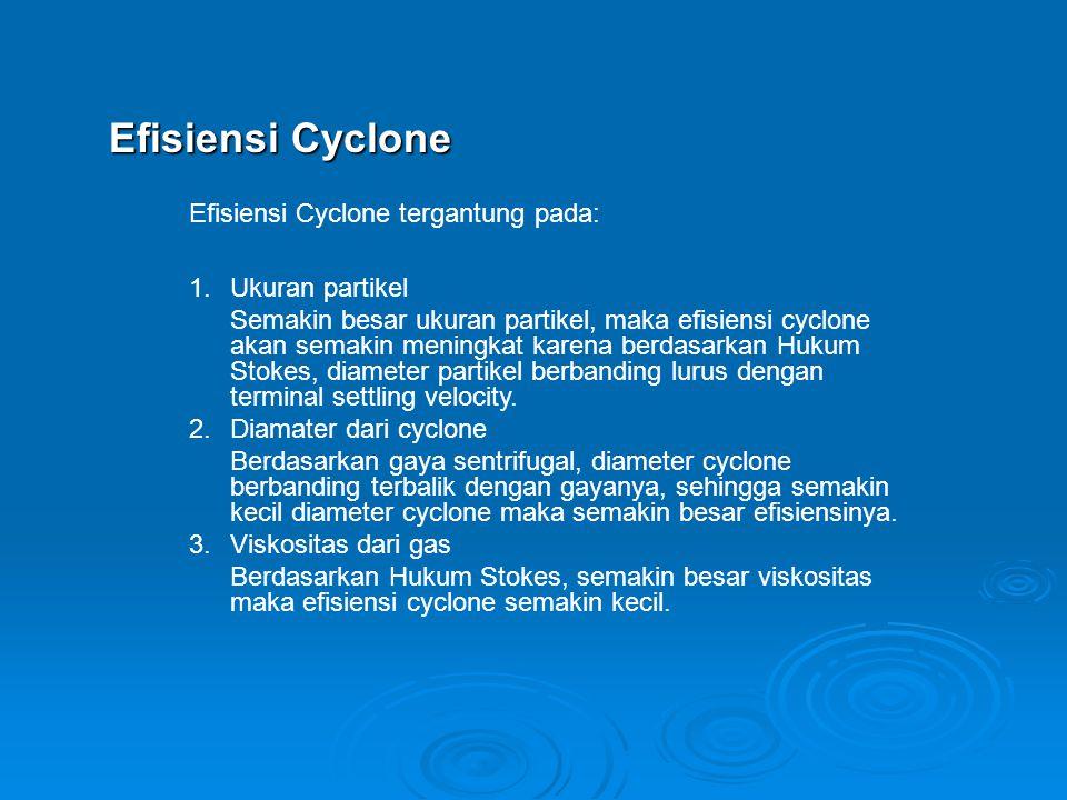Efisiensi Cyclone Efisiensi Cyclone tergantung pada: Ukuran partikel