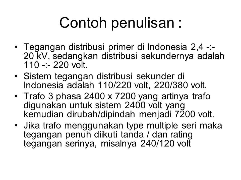 Contoh penulisan : Tegangan distribusi primer di Indonesia 2,4 -:- 20 kV, sedangkan distribusi sekundernya adalah 110 -:- 220 volt.
