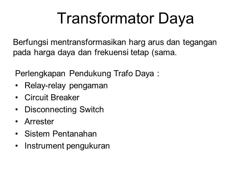 Transformator Daya Berfungsi mentransformasikan harg arus dan tegangan pada harga daya dan frekuensi tetap (sama.
