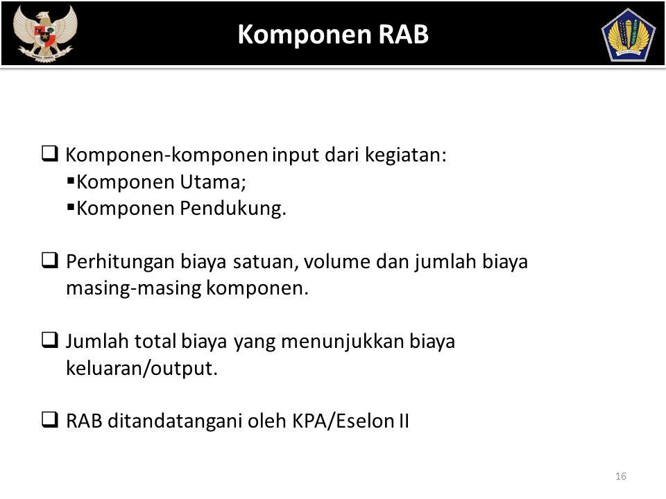 Komponen RAB POKOK BAHASAN Komponen-komponen input dari kegiatan: