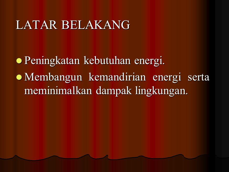 LATAR BELAKANG Peningkatan kebutuhan energi.