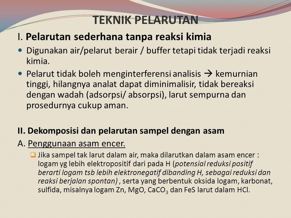 TEKNIK PELARUTAN I. Pelarutan sederhana tanpa reaksi kimia