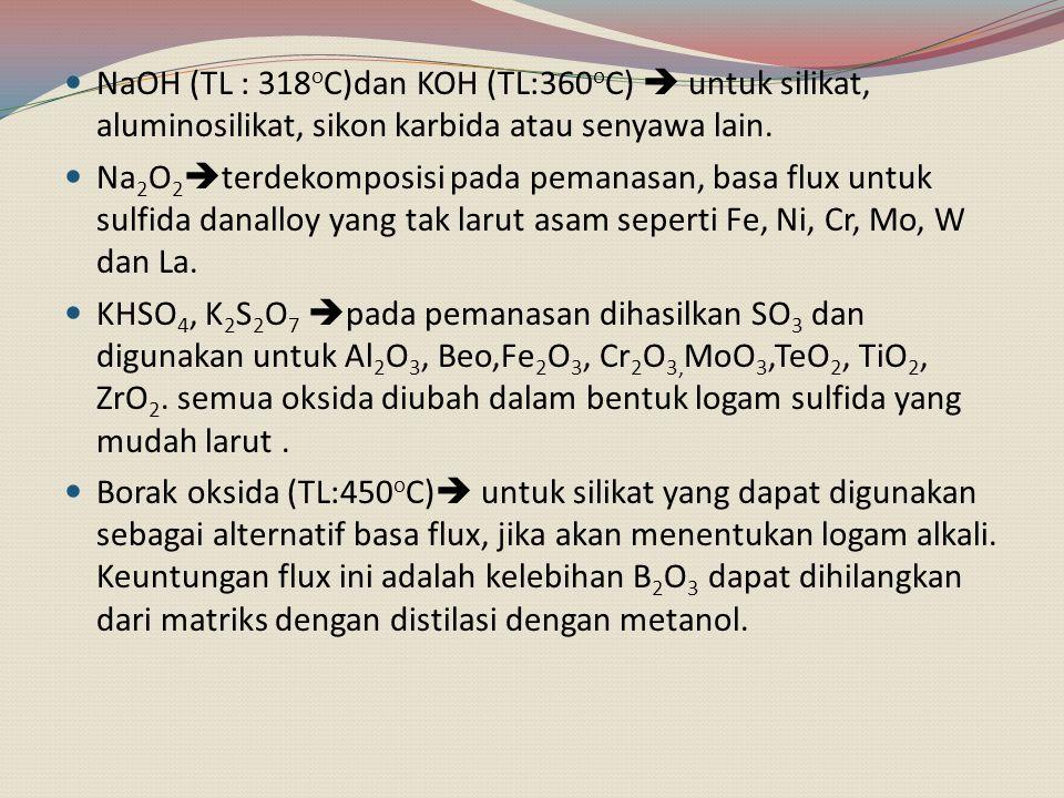 NaOH (TL : 318oC)dan KOH (TL:360oC)  untuk silikat, aluminosilikat, sikon karbida atau senyawa lain.