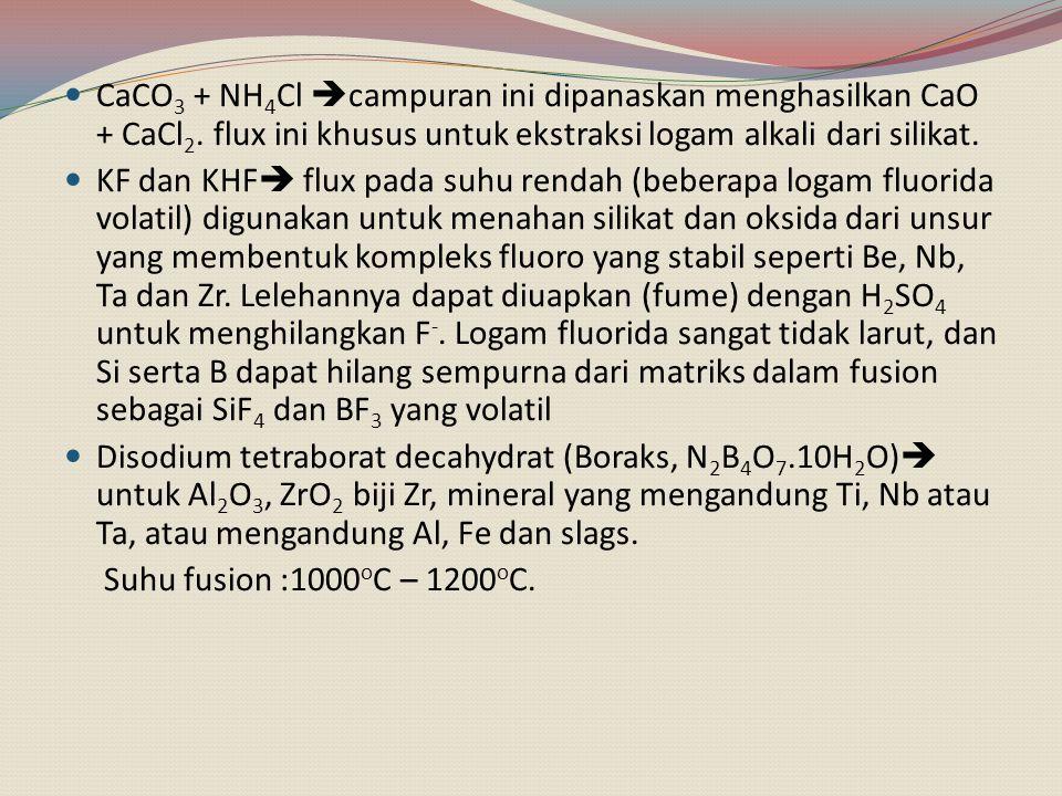 CaCO3 + NH4Cl campuran ini dipanaskan menghasilkan CaO + CaCl2