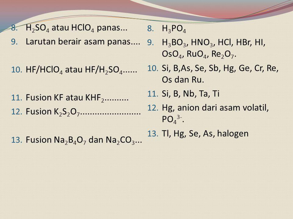H2SO4 atau HClO4 panas... Larutan berair asam panas.... HF/HClO4 atau HF/H2SO4...... Fusion KF atau KHF2..........