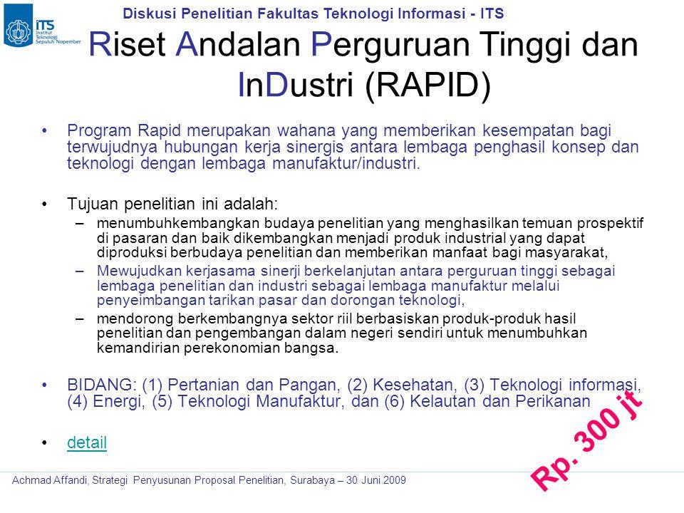 Riset Andalan Perguruan Tinggi dan InDustri (RAPID)