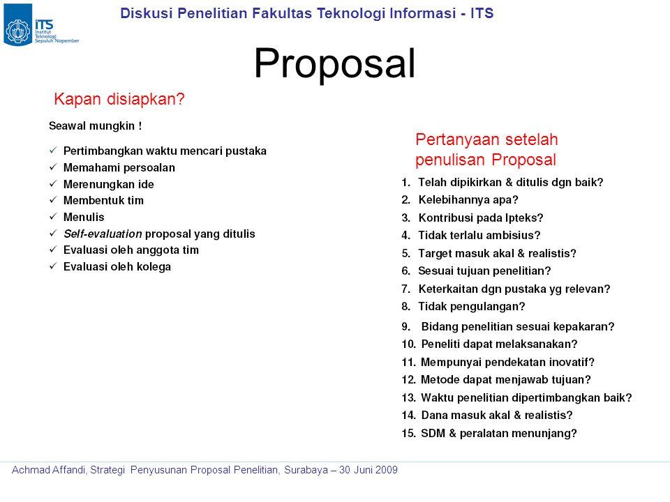Proposal Kapan disiapkan Pertanyaan setelah penulisan Proposal