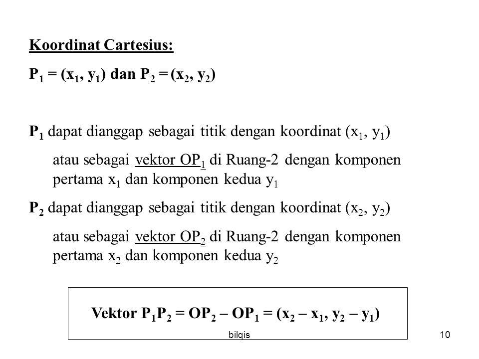 Vektor P1P2 = OP2 – OP1 = (x2 – x1, y2 – y1)