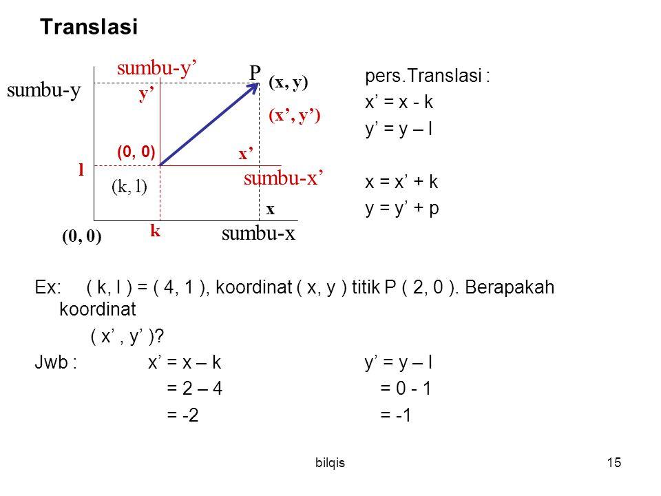 Translasi sumbu-y' P sumbu-y sumbu-x' sumbu-x x' = x - k y' = y – l