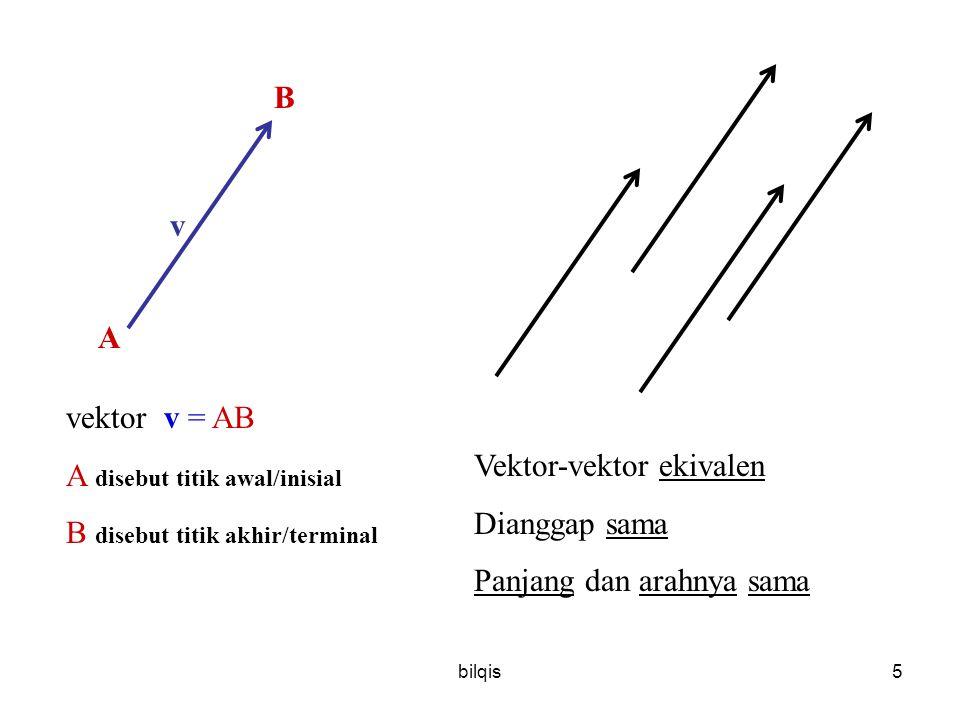 A disebut titik awal/inisial B disebut titik akhir/terminal