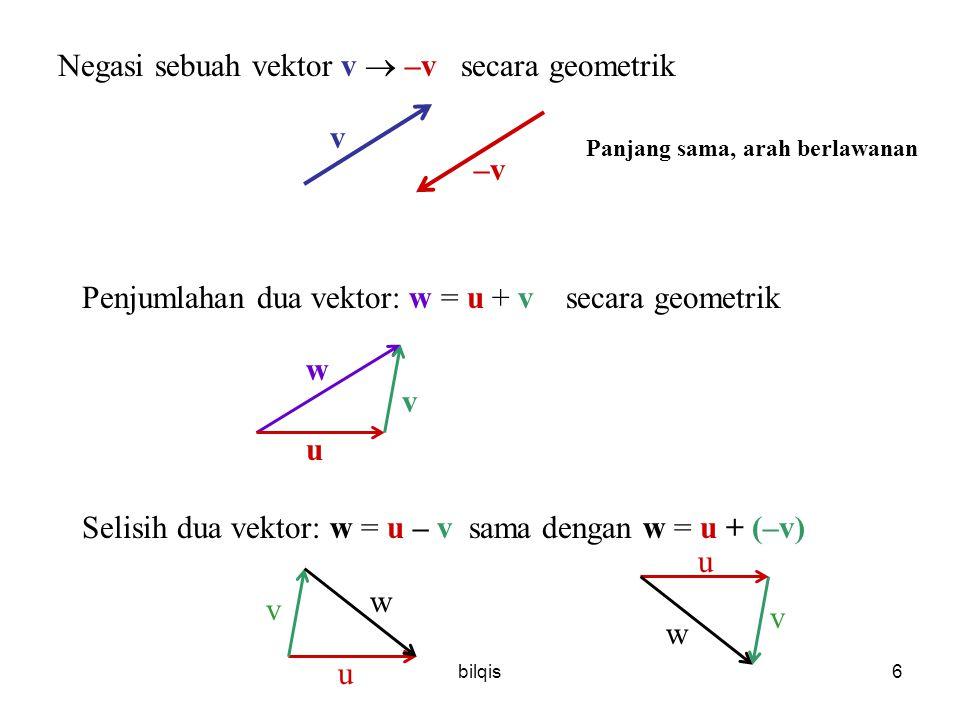 Negasi sebuah vektor v  –v secara geometrik