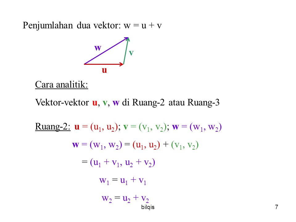 Penjumlahan dua vektor: w = u + v