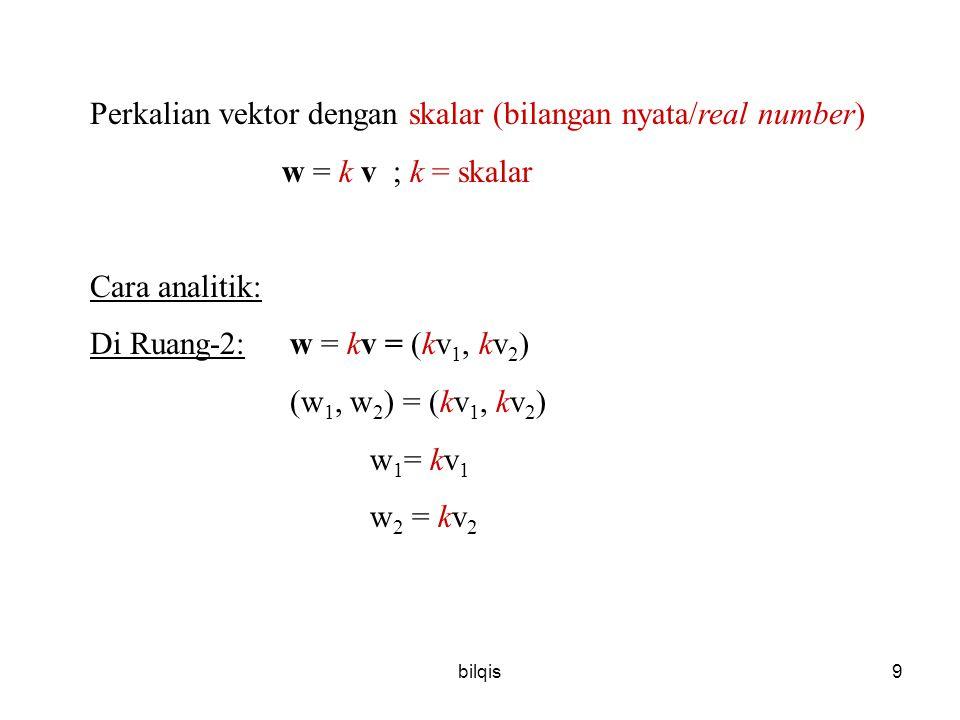 Perkalian vektor dengan skalar (bilangan nyata/real number)