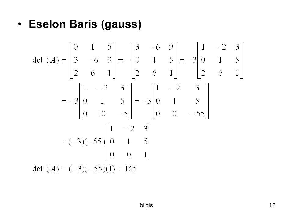 Eselon Baris (gauss) bilqis