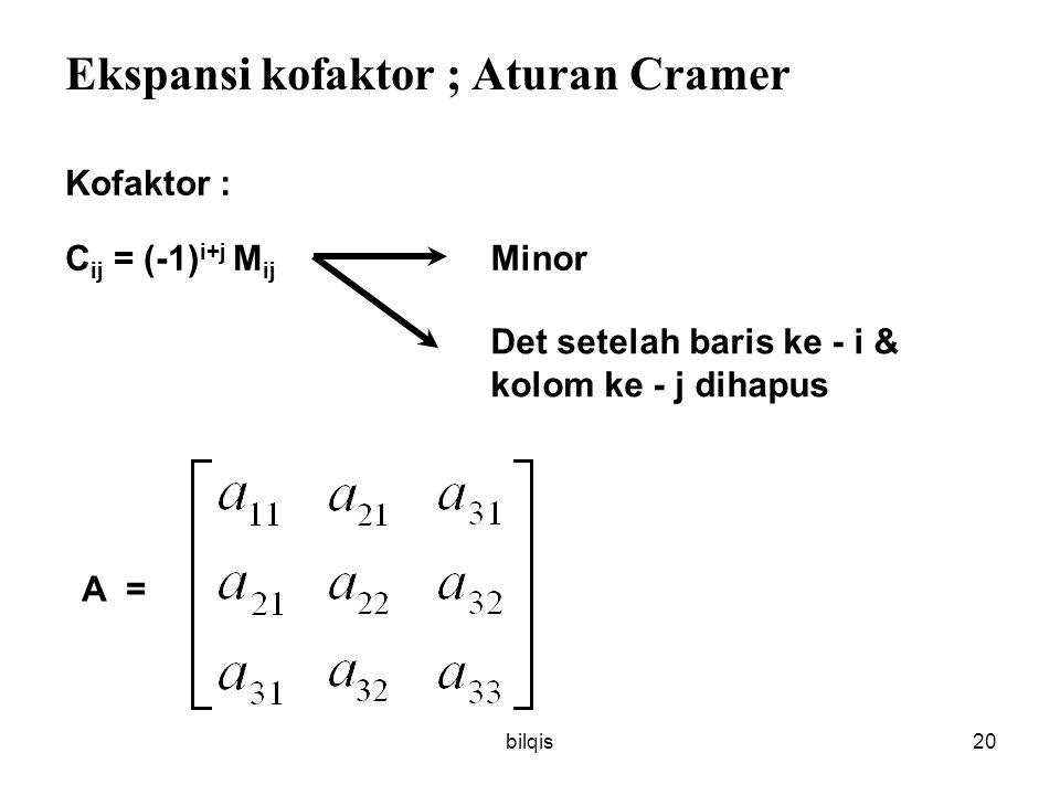 Ekspansi kofaktor ; Aturan Cramer