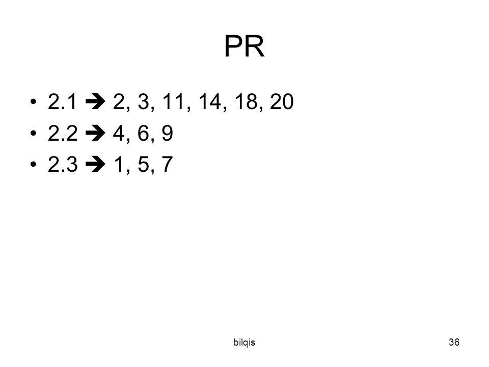 PR 2.1  2, 3, 11, 14, 18, 20 2.2  4, 6, 9 2.3  1, 5, 7 bilqis