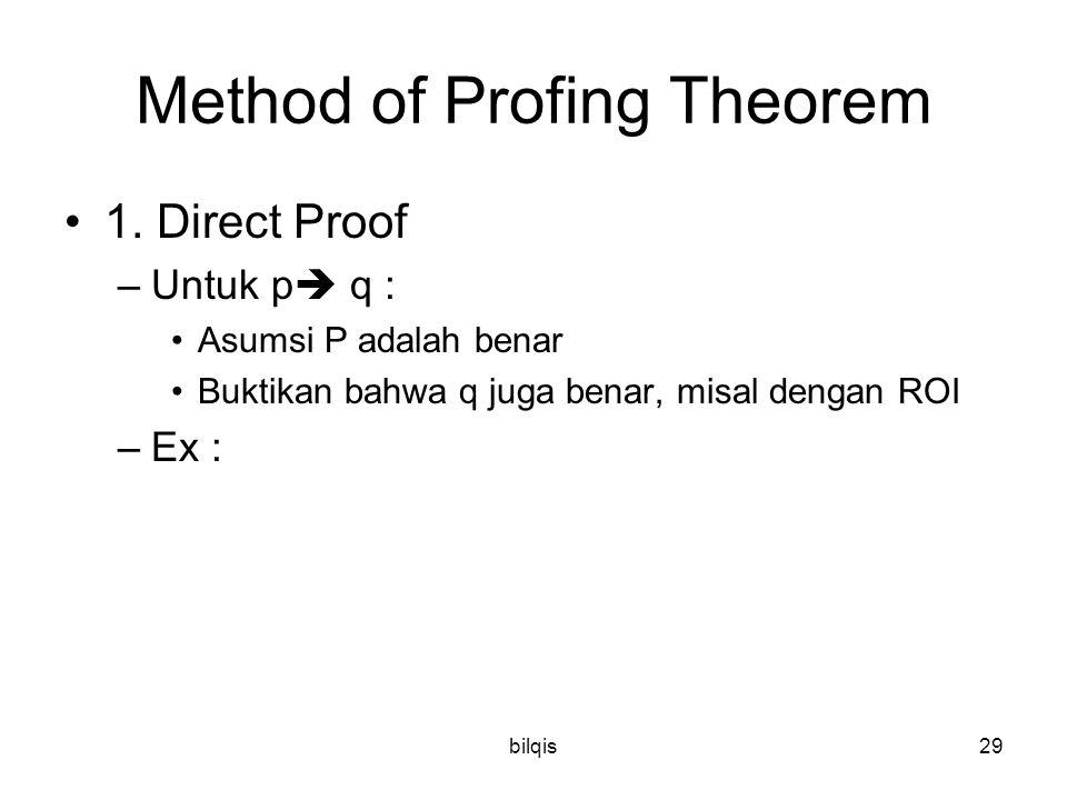 Method of Profing Theorem
