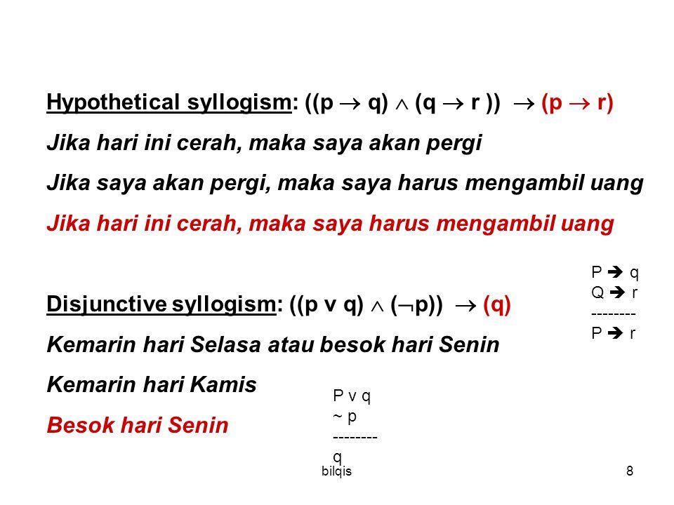 Hypothetical syllogism: ((p  q)  (q  r ))  (p  r)