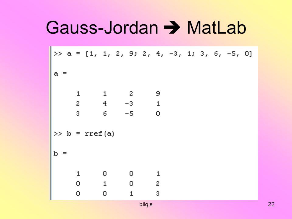 Gauss-Jordan  MatLab bilqis
