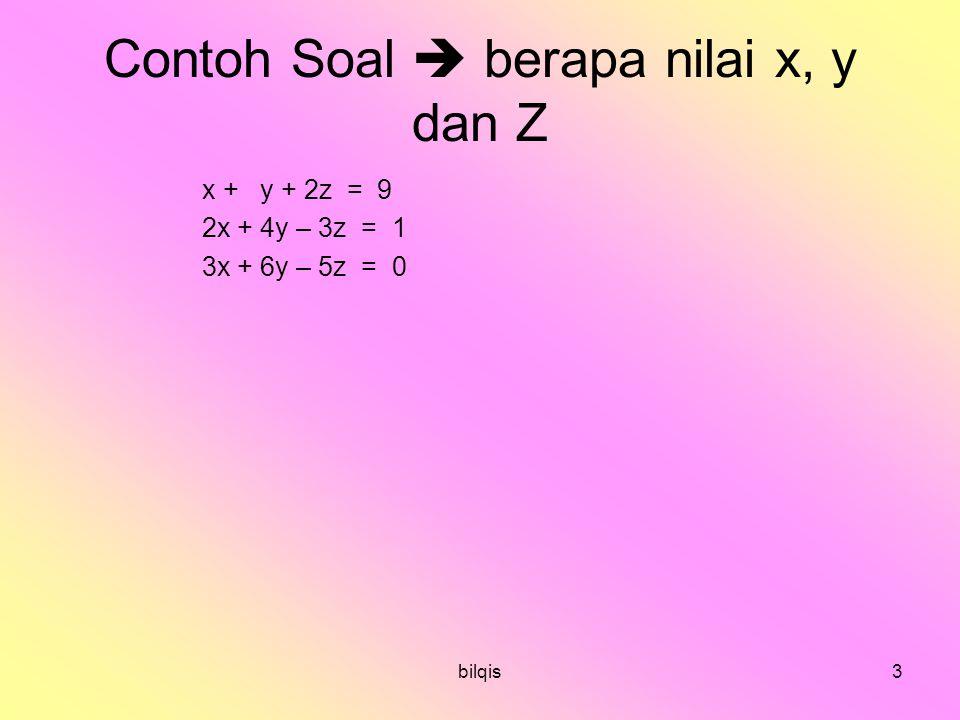 Contoh Soal  berapa nilai x, y dan Z
