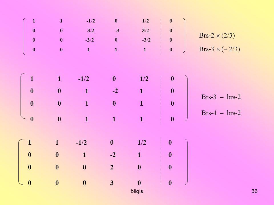 Brs-2  (2/3) Brs-3  (– 2/3) 1 1 -1/2 0 1/2 0 0 0 1 -2 1 0