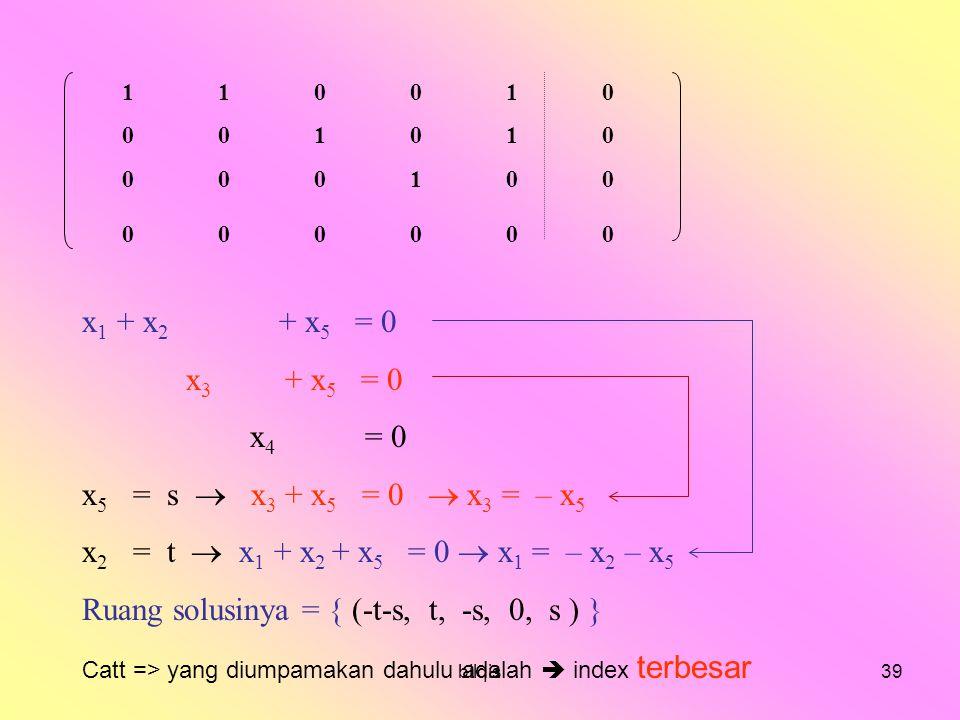 Ruang solusinya = { (-t-s, t, -s, 0, s ) }