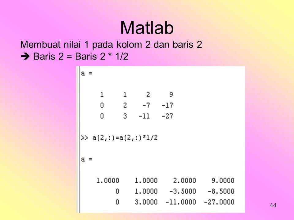 Matlab Membuat nilai 1 pada kolom 2 dan baris 2
