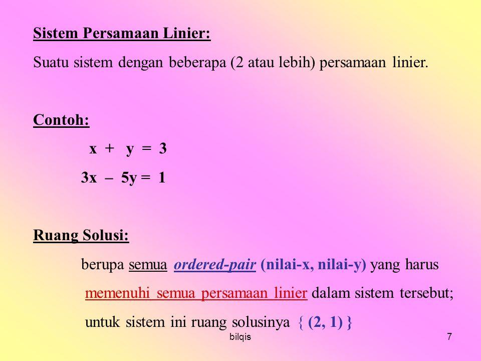 Sistem Persamaan Linier: