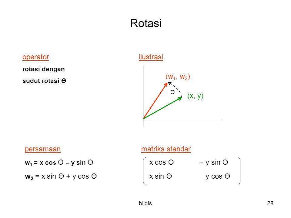 Rotasi operator ilustrasi (w1, w2) (x, y) persamaan matriks standar