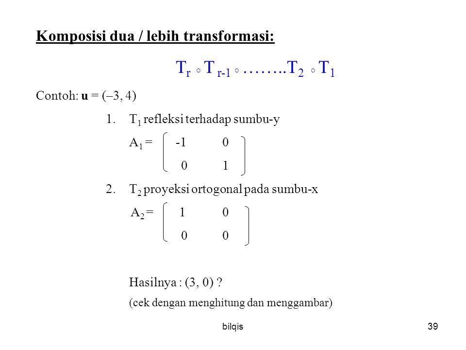 Komposisi dua / lebih transformasi: Tr ° T r-1 ° ……..T2 ° T1