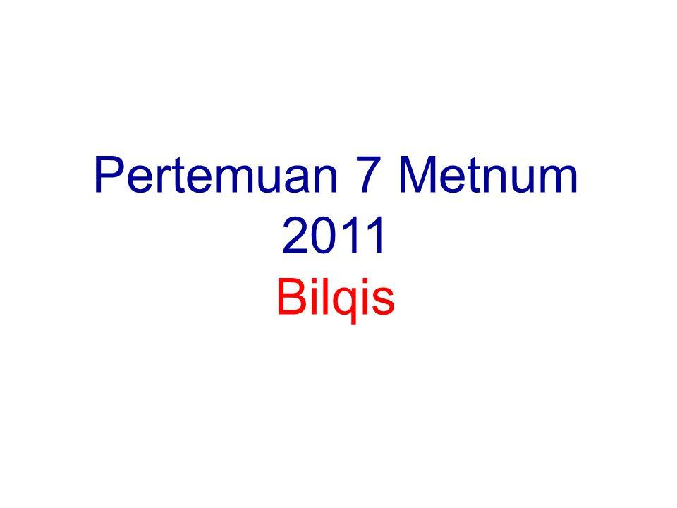 Pertemuan 7 Metnum 2011 Bilqis