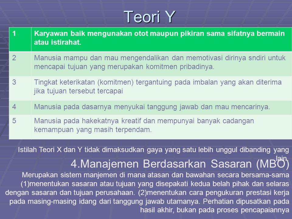Teori Y 4.Manajemen Berdasarkan Sasaran (MBO) 1