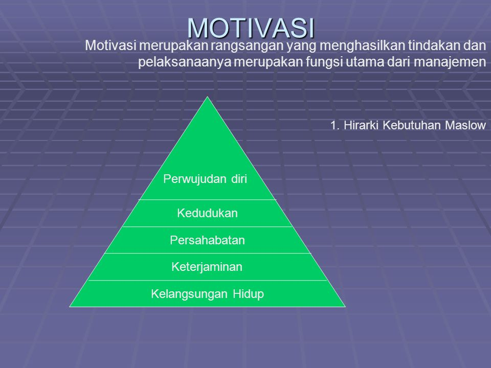 MOTIVASI Motivasi merupakan rangsangan yang menghasilkan tindakan dan pelaksanaanya merupakan fungsi utama dari manajemen.