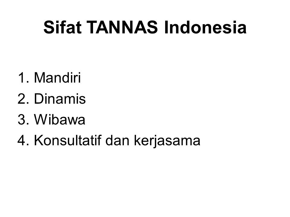 Sifat TANNAS Indonesia