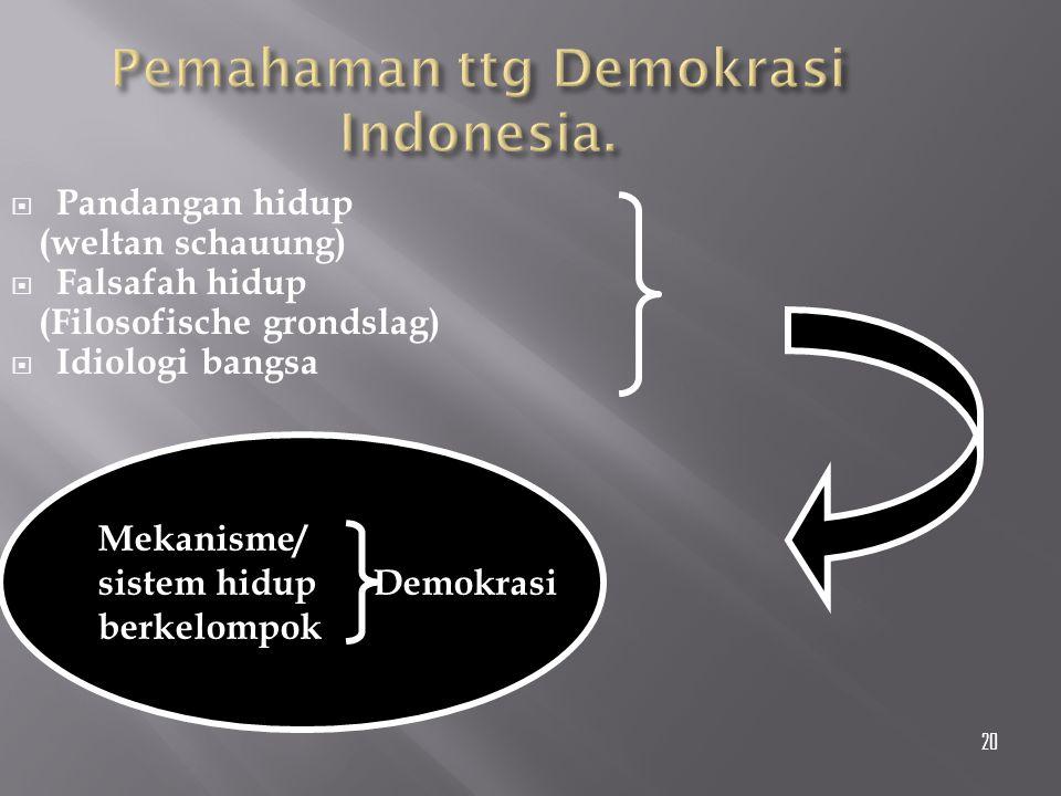 Pemahaman ttg Demokrasi Indonesia.