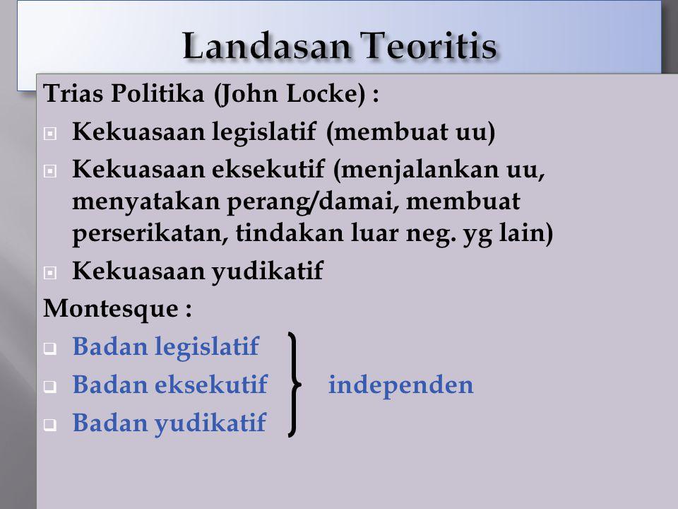 Landasan Teoritis Trias Politika (John Locke) :
