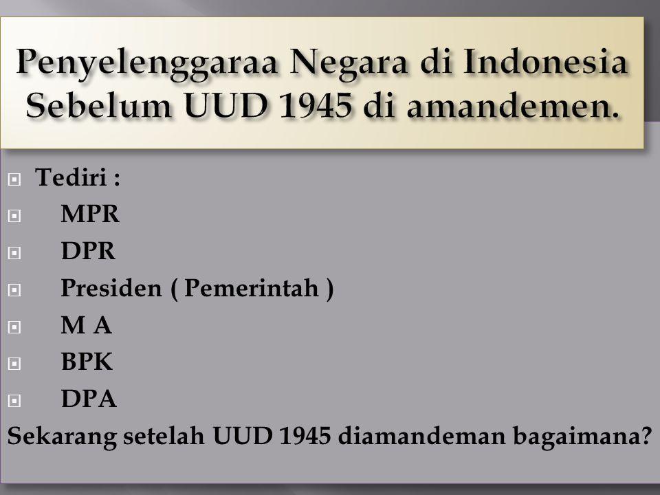 Penyelenggaraa Negara di Indonesia Sebelum UUD 1945 di amandemen.