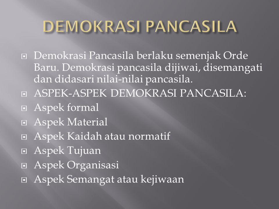DEMOKRASI PANCASILA Demokrasi Pancasila berlaku semenjak Orde Baru. Demokrasi pancasila dijiwai, disemangati dan didasari nilai-nilai pancasila.