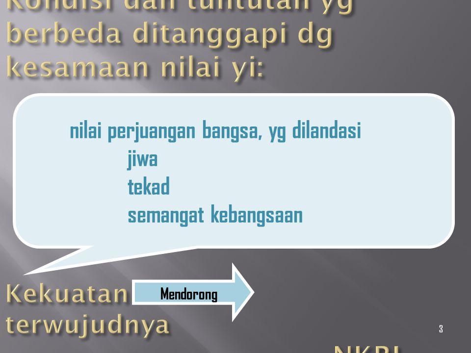 Kondisi dan tuntutan yg berbeda ditanggapi dg kesamaan nilai yi: Kekuatan terwujudnya NKRI