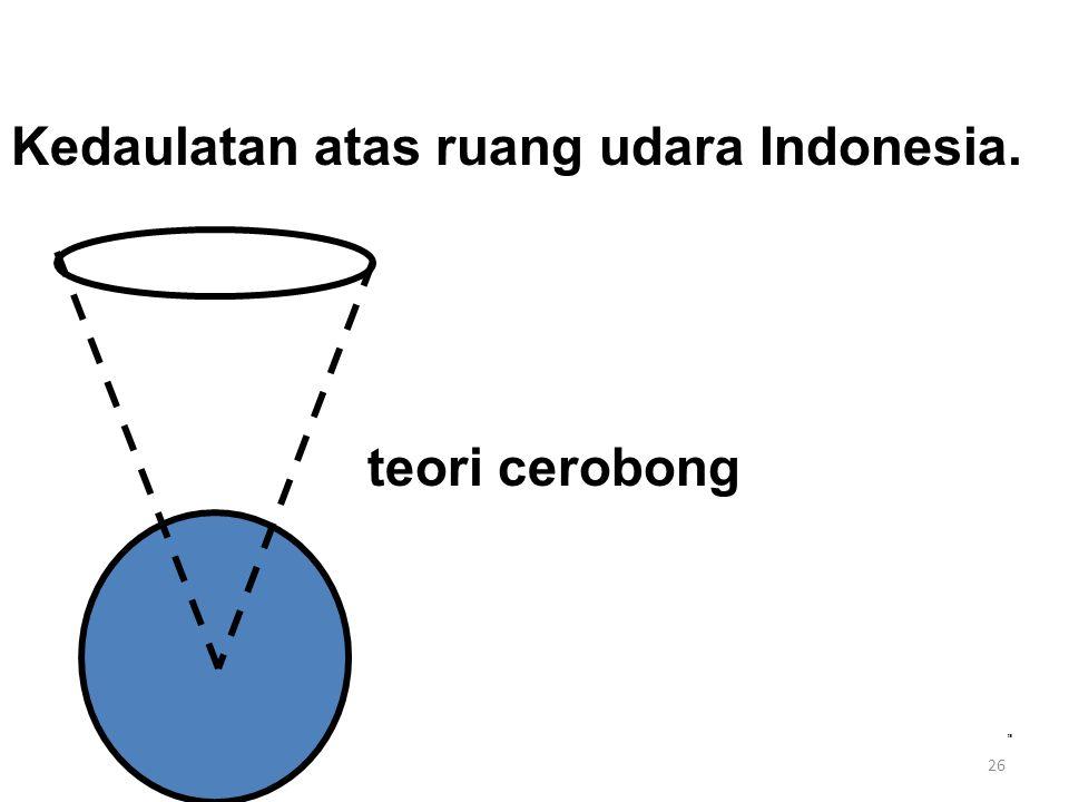 Kedaulatan atas ruang udara Indonesia. teori cerobong