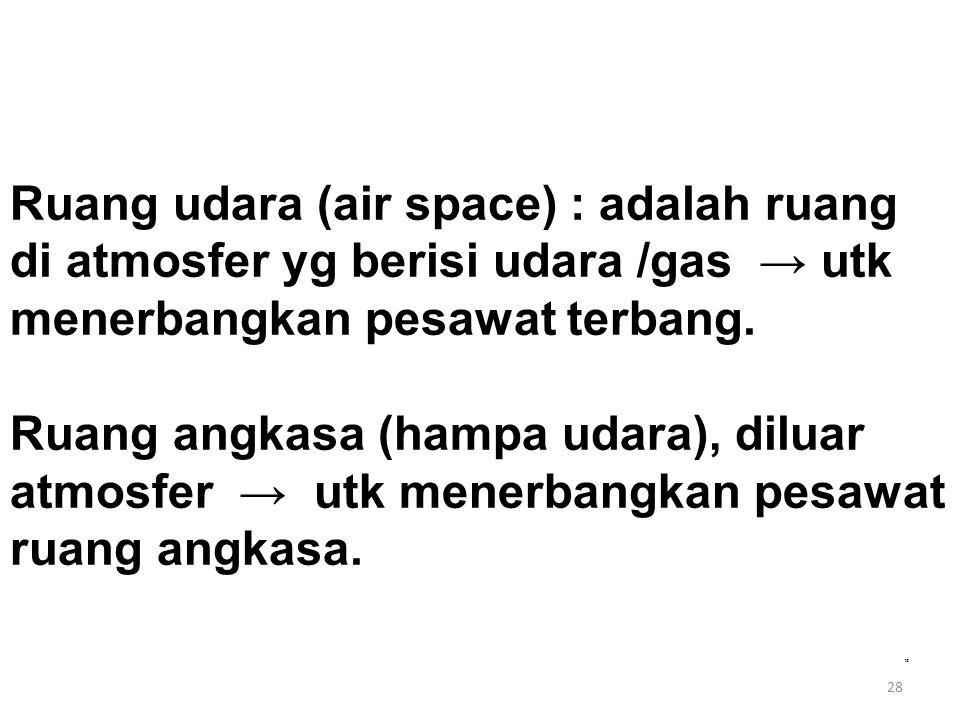 Ruang udara (air space) : adalah ruang di atmosfer yg berisi udara /gas → utk menerbangkan pesawat terbang. Ruang angkasa (hampa udara), diluar atmosfer → utk menerbangkan pesawat ruang angkasa.