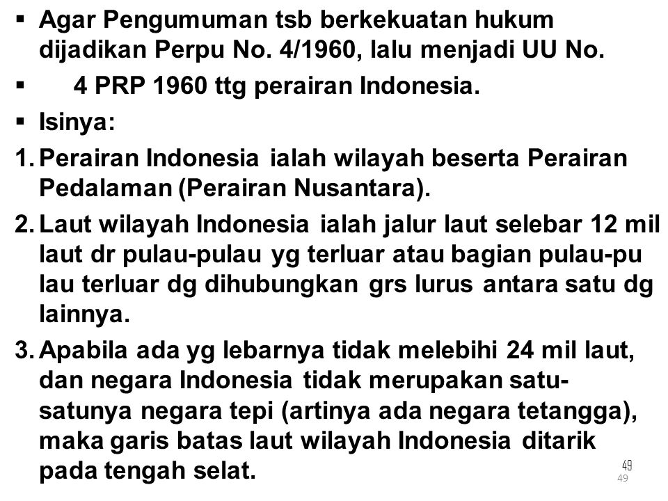 4 PRP 1960 ttg perairan Indonesia. Isinya:
