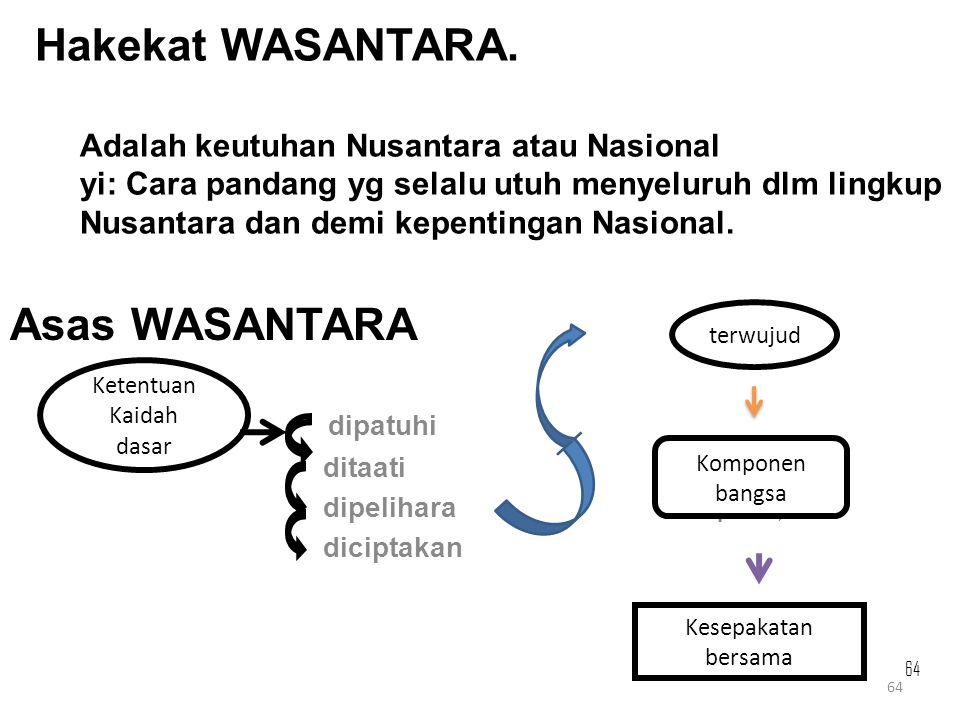 Hakekat WASANTARA. Adalah keutuhan Nusantara atau Nasional yi: Cara pandang yg selalu utuh menyeluruh dlm lingkup Nusantara dan demi kepentingan Nasional.