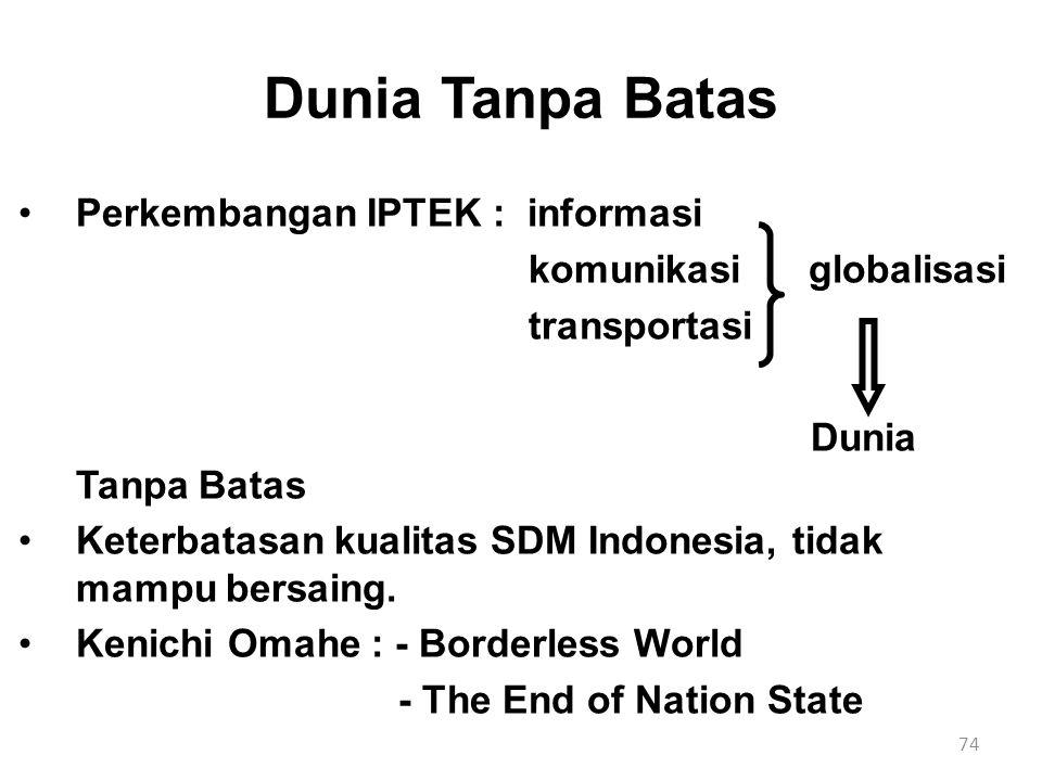 Dunia Tanpa Batas Perkembangan IPTEK : informasi