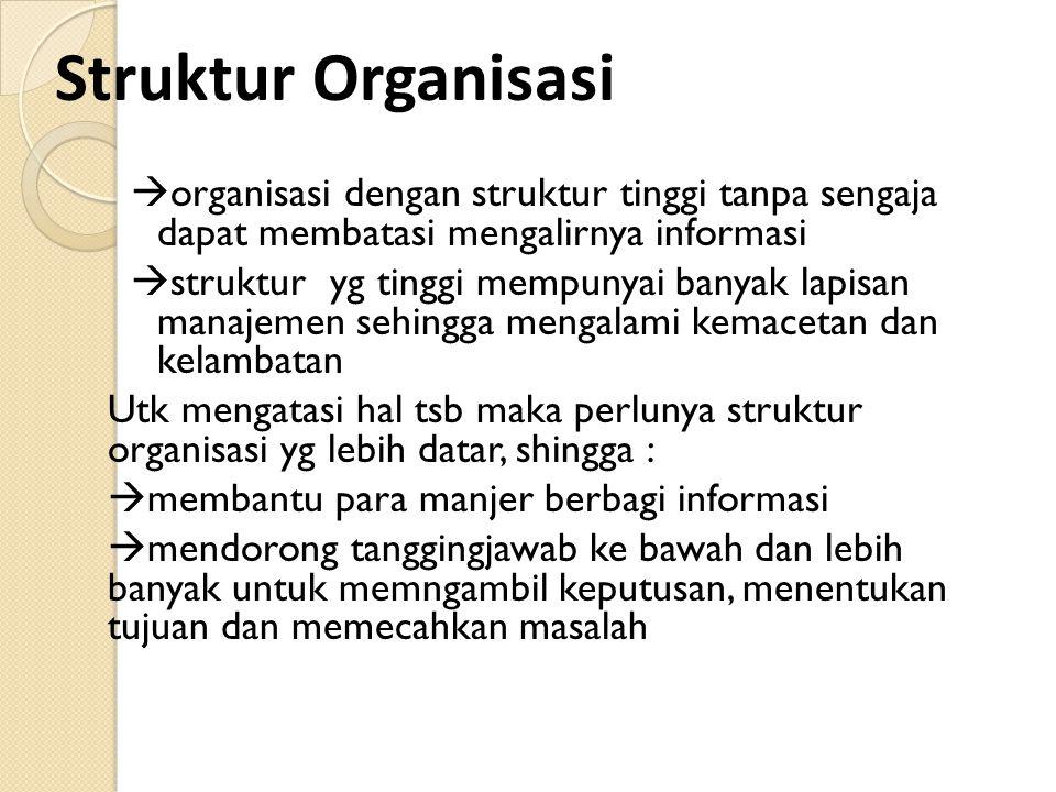 Struktur Organisasi organisasi dengan struktur tinggi tanpa sengaja dapat membatasi mengalirnya informasi.