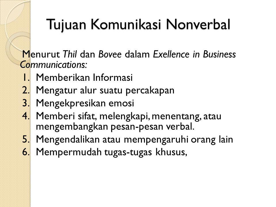 Tujuan Komunikasi Nonverbal